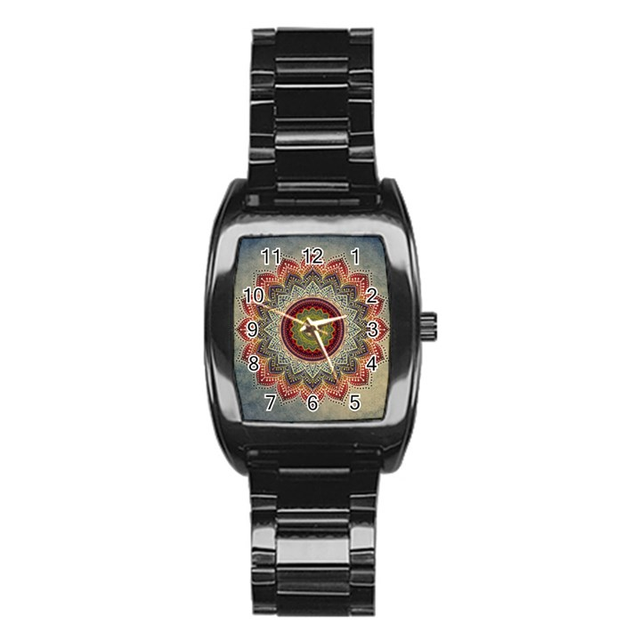 Folk Art Lotus Mandala Dirty Blue Red Stainless Steel Barrel Watch