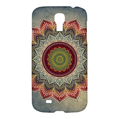 Folk Art Lotus Mandala Dirty Blue Red Samsung Galaxy S4 I9500/I9505 Hardshell Case