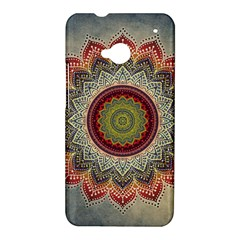 Folk Art Lotus Mandala Dirty Blue Red HTC One M7 Hardshell Case