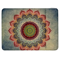 Folk Art Lotus Mandala Dirty Blue Red Samsung Galaxy Tab 7  P1000 Flip Case