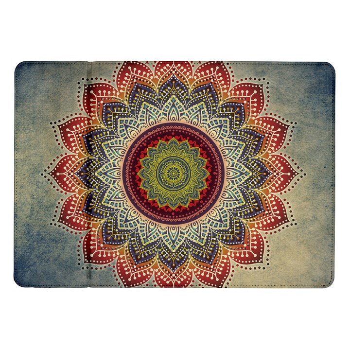 Folk Art Lotus Mandala Dirty Blue Red Samsung Galaxy Tab 10.1  P7500 Flip Case