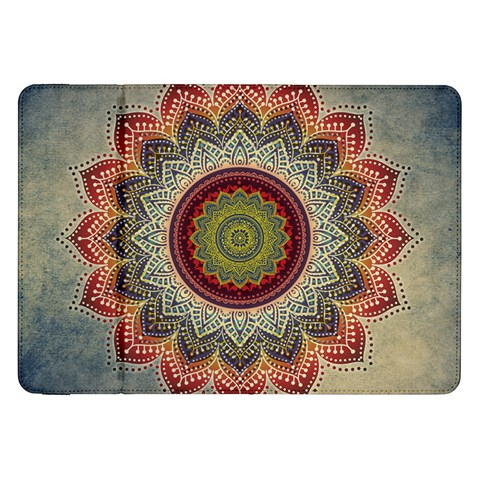 Folk Art Lotus Mandala Dirty Blue Red Samsung Galaxy Tab 8.9  P7300 Flip Case