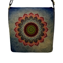 Folk Art Lotus Mandala Dirty Blue Red Flap Messenger Bag (l)