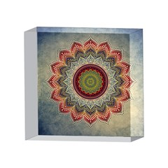 Folk Art Lotus Mandala Dirty Blue Red 4 x 4  Acrylic Photo Blocks