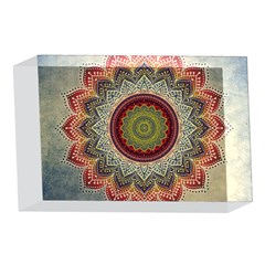 Folk Art Lotus Mandala Dirty Blue Red 4 x 6  Acrylic Photo Blocks