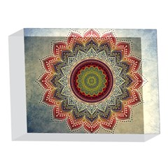 Folk Art Lotus Mandala Dirty Blue Red 5 x 7  Acrylic Photo Blocks