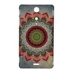 Folk Art Lotus Mandala Dirty Blue Red Sony Xperia TX