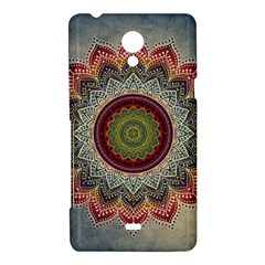 Folk Art Lotus Mandala Dirty Blue Red Sony Xperia T