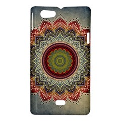 Folk Art Lotus Mandala Dirty Blue Red Sony Xperia Miro