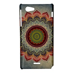 Folk Art Lotus Mandala Dirty Blue Red Sony Xperia J