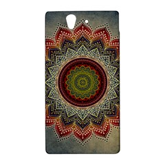Folk Art Lotus Mandala Dirty Blue Red Sony Xperia Z
