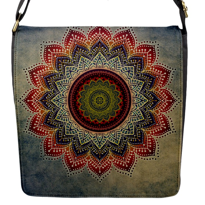 Folk Art Lotus Mandala Dirty Blue Red Flap Messenger Bag (S)
