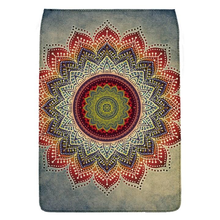 Folk Art Lotus Mandala Dirty Blue Red Flap Covers (S)