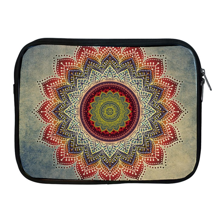 Folk Art Lotus Mandala Dirty Blue Red Apple iPad 2/3/4 Zipper Cases