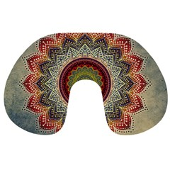Folk Art Lotus Mandala Dirty Blue Red Travel Neck Pillows