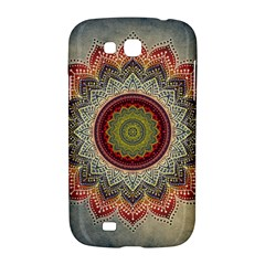 Folk Art Lotus Mandala Dirty Blue Red Samsung Galaxy Grand GT-I9128 Hardshell Case