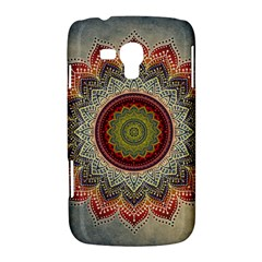 Folk Art Lotus Mandala Dirty Blue Red Samsung Galaxy Duos I8262 Hardshell Case