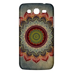 Folk Art Lotus Mandala Dirty Blue Red Samsung Galaxy Mega 5.8 I9152 Hardshell Case