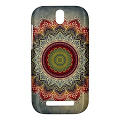 Folk Art Lotus Mandala Dirty Blue Red HTC One SV Hardshell Case