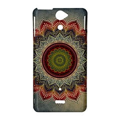 Folk Art Lotus Mandala Dirty Blue Red Sony Xperia V