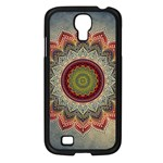 Folk Art Lotus Mandala Dirty Blue Red Samsung Galaxy S4 I9500/ I9505 Case (Black) Front