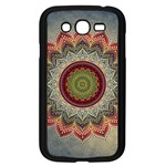 Folk Art Lotus Mandala Dirty Blue Red Samsung Galaxy Grand DUOS I9082 Case (Black) Front