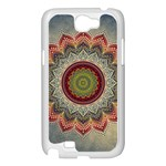Folk Art Lotus Mandala Dirty Blue Red Samsung Galaxy Note 2 Case (White) Front