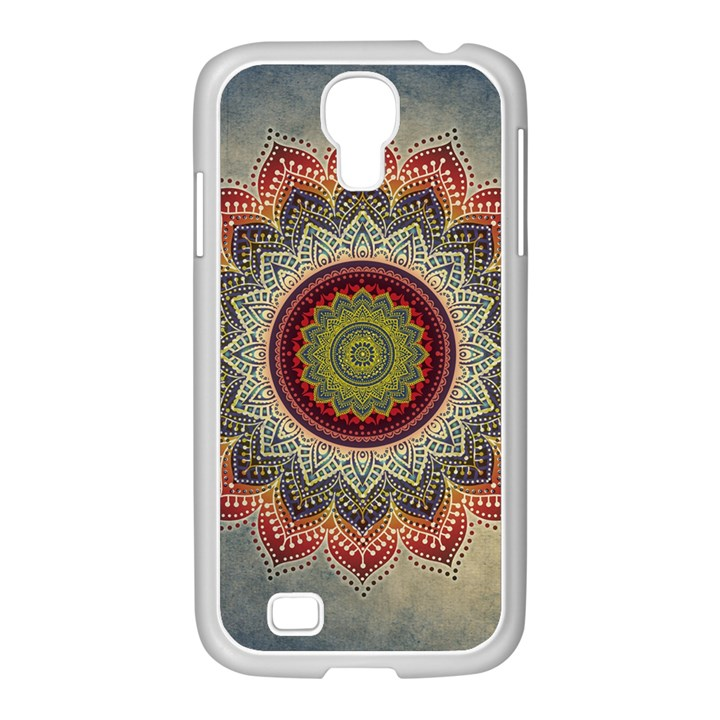 Folk Art Lotus Mandala Dirty Blue Red Samsung GALAXY S4 I9500/ I9505 Case (White)