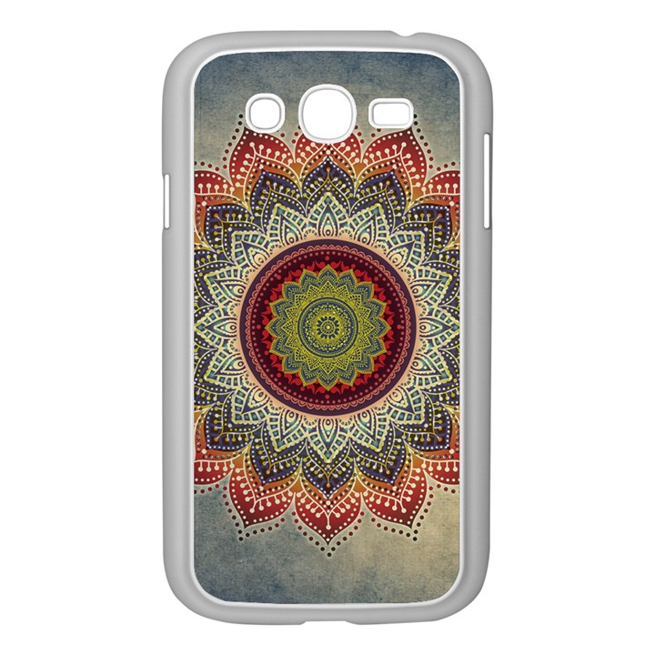 Folk Art Lotus Mandala Dirty Blue Red Samsung Galaxy Grand DUOS I9082 Case (White)