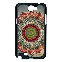 Folk Art Lotus Mandala Dirty Blue Red Samsung Galaxy Note 2 Case (Black)