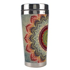 Folk Art Lotus Mandala Dirty Blue Red Stainless Steel Travel Tumblers