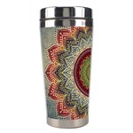 Folk Art Lotus Mandala Dirty Blue Red Stainless Steel Travel Tumblers Left