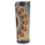 Folk Art Lotus Mandala Dirty Blue Red Travel Tumbler Right