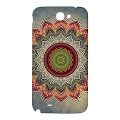 Folk Art Lotus Mandala Dirty Blue Red Samsung Note 2 N7100 Hardshell Back Case
