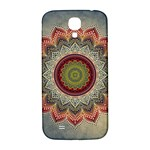Folk Art Lotus Mandala Dirty Blue Red Samsung Galaxy S4 I9500/I9505  Hardshell Back Case Front