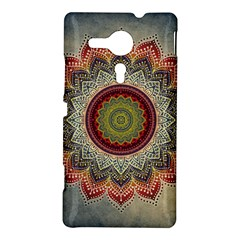 Folk Art Lotus Mandala Dirty Blue Red Sony Xperia SP