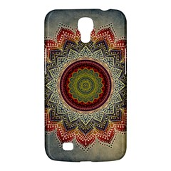 Folk Art Lotus Mandala Dirty Blue Red Samsung Galaxy Mega 6.3  I9200 Hardshell Case