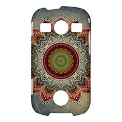 Folk Art Lotus Mandala Dirty Blue Red Samsung Galaxy S7710 Xcover 2 Hardshell Case