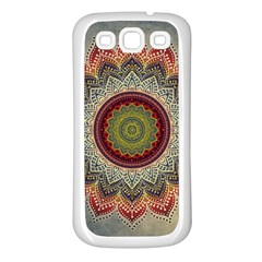 Folk Art Lotus Mandala Dirty Blue Red Samsung Galaxy S3 Back Case (white)