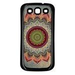 Folk Art Lotus Mandala Dirty Blue Red Samsung Galaxy S3 Back Case (Black) Front