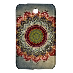 Folk Art Lotus Mandala Dirty Blue Red Samsung Galaxy Tab 3 (7 ) P3200 Hardshell Case