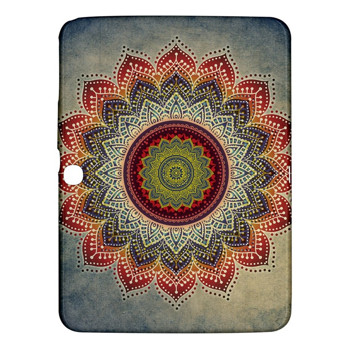 Folk Art Lotus Mandala Dirty Blue Red Samsung Galaxy Tab 3 (10.1 ) P5200 Hardshell Case
