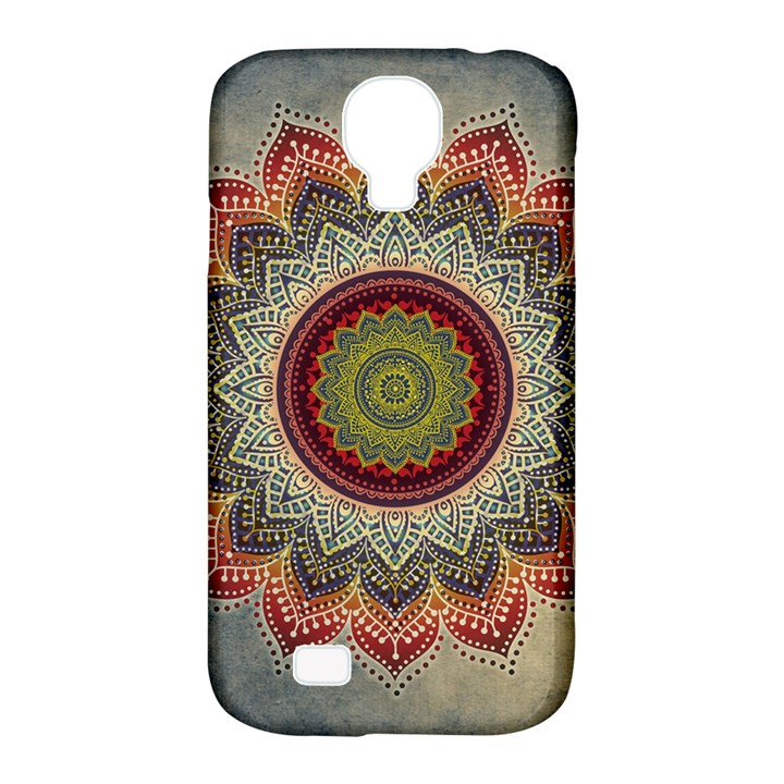Folk Art Lotus Mandala Dirty Blue Red Samsung Galaxy S4 Classic Hardshell Case (PC+Silicone)