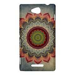 Folk Art Lotus Mandala Dirty Blue Red Sony Xperia C (S39H)
