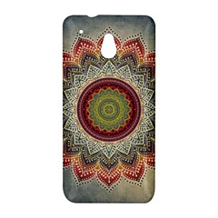 Folk Art Lotus Mandala Dirty Blue Red HTC One Mini (601e) M4 Hardshell Case