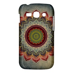 Folk Art Lotus Mandala Dirty Blue Red Samsung Galaxy Ace 3 S7272 Hardshell Case