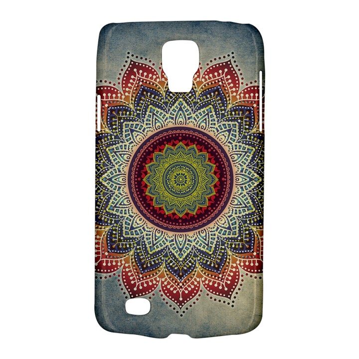 Folk Art Lotus Mandala Dirty Blue Red Galaxy S4 Active