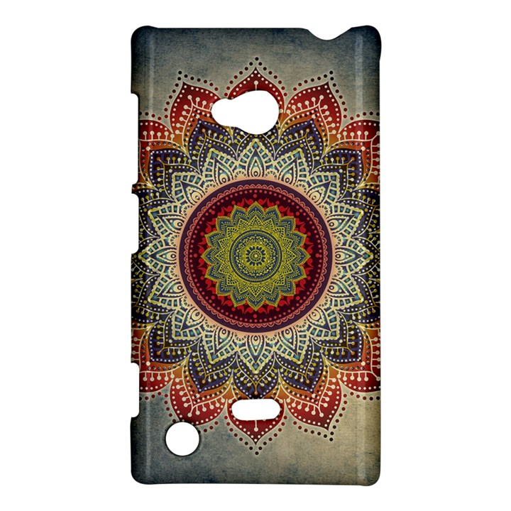 Folk Art Lotus Mandala Dirty Blue Red Nokia Lumia 720