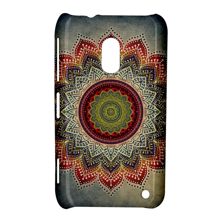 Folk Art Lotus Mandala Dirty Blue Red Nokia Lumia 620