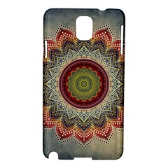 Folk Art Lotus Mandala Dirty Blue Red Samsung Galaxy Note 3 N9005 Hardshell Case